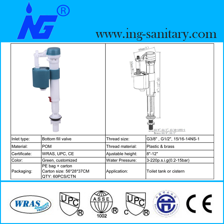 WRAS & UPC Toilet Fill Valves