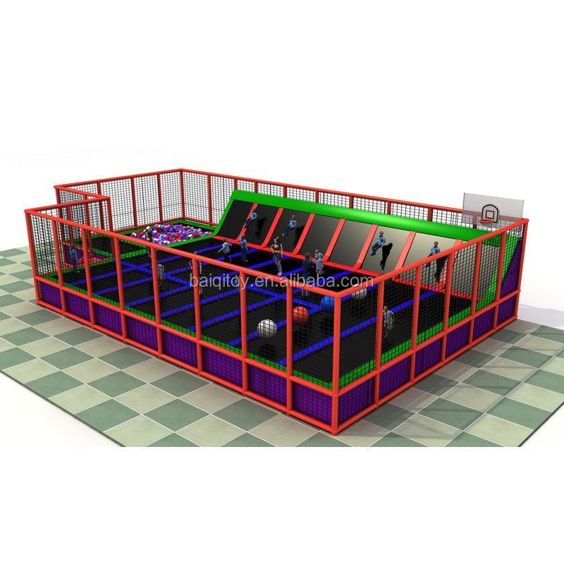 Kids Jump Bed With Foam Pit Trampoline Rectangular Sport Play Trampoline Park builder