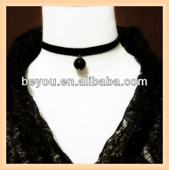 black velvet choker/ necklace black beaded pendant goth wicca