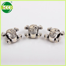 fashion jewelry findings antique silver charms alloy big hole skeleton skull beads