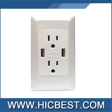 2015 New design USA usb wall socket 125v 15a 2 gang electric outlet with dual usb