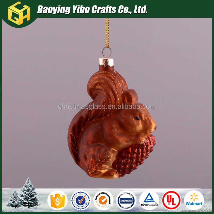 Hanging glass squirrel for christmas decoration supplies
