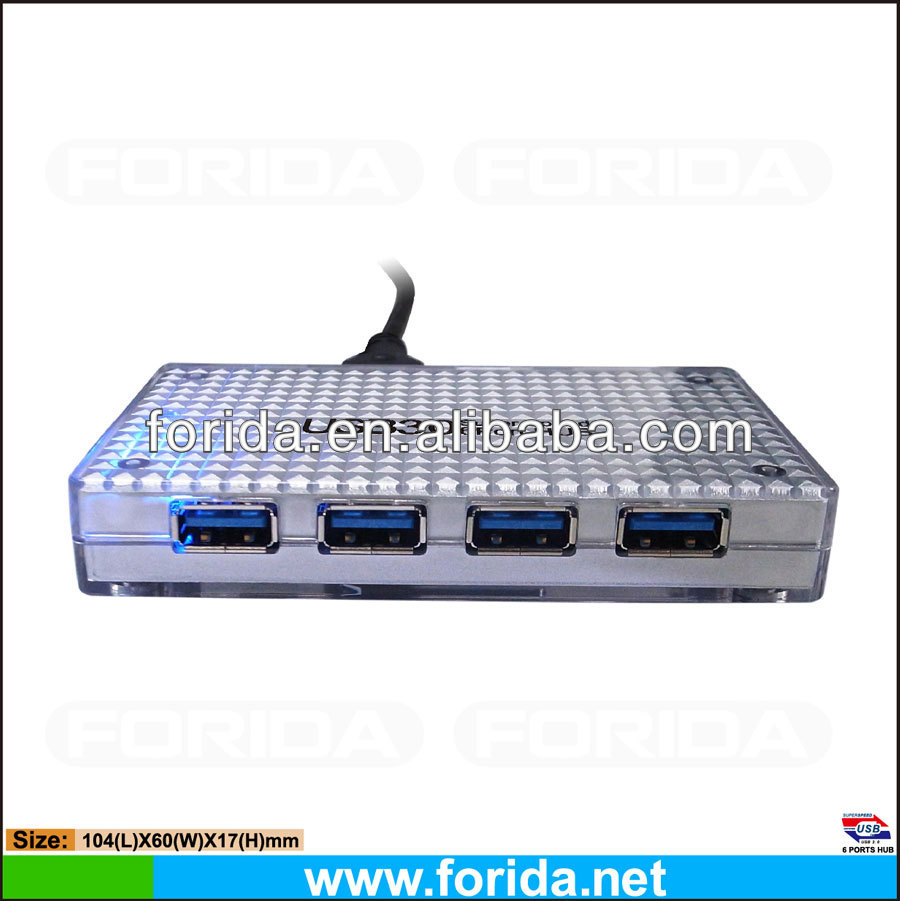 High Speed Transparent +inner silver oiled USB3.0 6 Ports HUBS GL3520 chipset with Non-slip dot