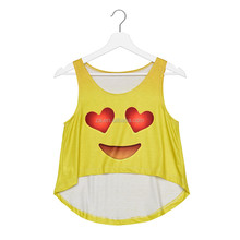 Sexy Summer Emoji Print Crop Womens Tops Clothing