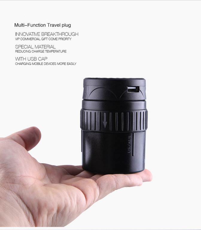 worldwide universal travel power adapter with USB adapter