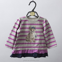 Sweet baby/girl kids stripe T-Shirts, flounced T-shirt with stripe and pet cat print
