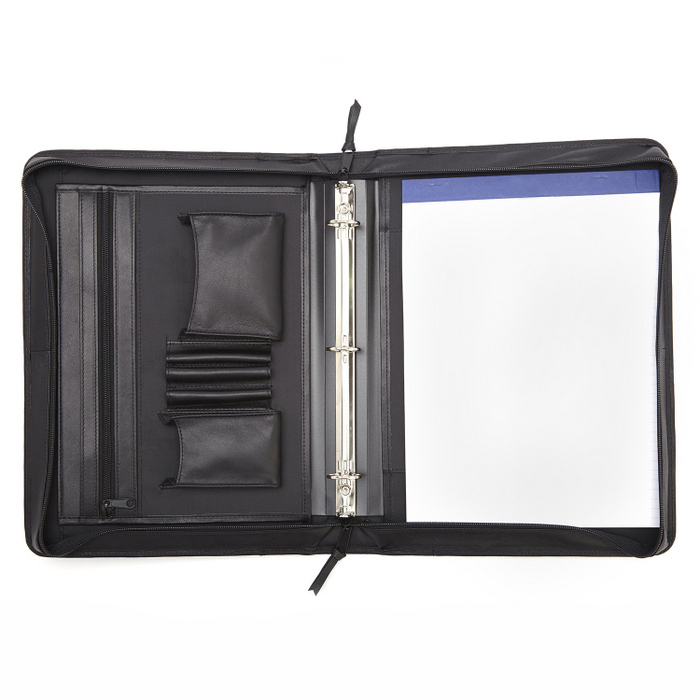 Customized Leather Deluxe Convertible Zip Binder Folio