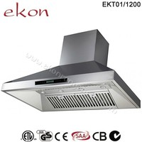 SAA CE GS CB Approved 2000 M3/Hr Twin Motors Commercial Screen Touch Control 4 LED Lights Canopy 120cm Commercial Range Hood