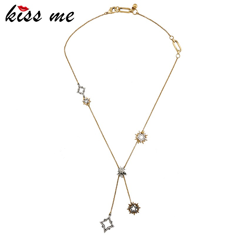 Simple Gold Plated Chain Female Zircon Zinc Alloy Star Pendant Vintage Necklace <strong>Jewelry</strong>
