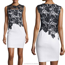 New arrival wholesale supplier sleeveless Splice lace career ladies office wear dress