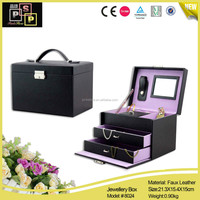 Large contained classic black wooden jewelry mdf box with drawers
