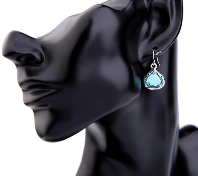 Drop Tear Light Blue Glass Earring Woman's Stud