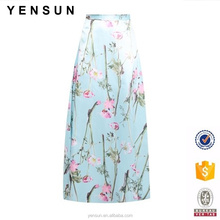 latest women fashion design floral printed A-line muslim maxi skirt for ladies
