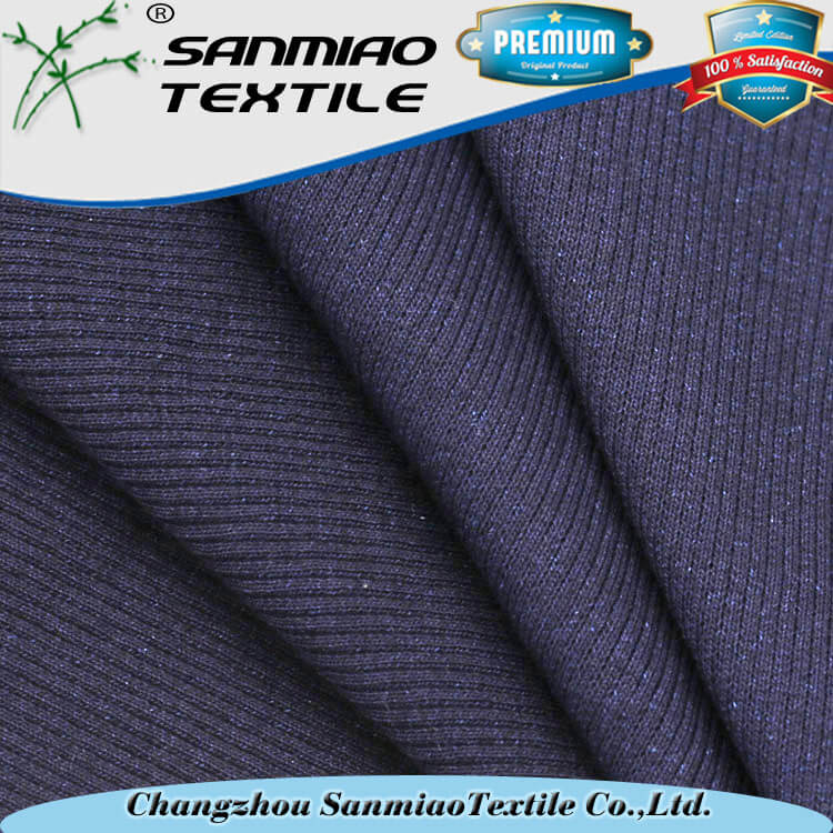 Yarn dyed indigo spandex knitted denim 2x2 rib fabric for cuff WHCP- 2x2 /207