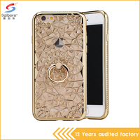 Hot selling ladies design with diamond ring holder stand tpu phone case for iPhone 5