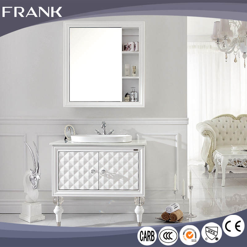 Frank Chinese luxury classic style 12 inch deep cheap rv pvc single corner bathroom vanity cabinet with mirror