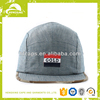 Blank vintage canvas flat brim plain custom 5 panel cap