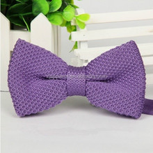 Purple Colorful Polyester knitted bow tie for lady