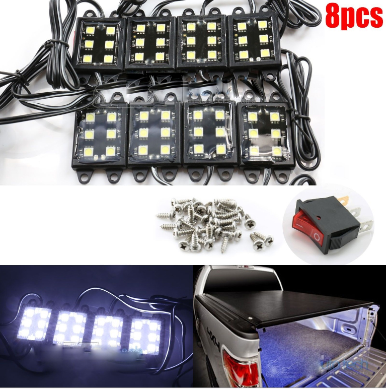 8pc Universal PickUp Truck Bed Rear Work Box White LEDs Lighting System Light Kit