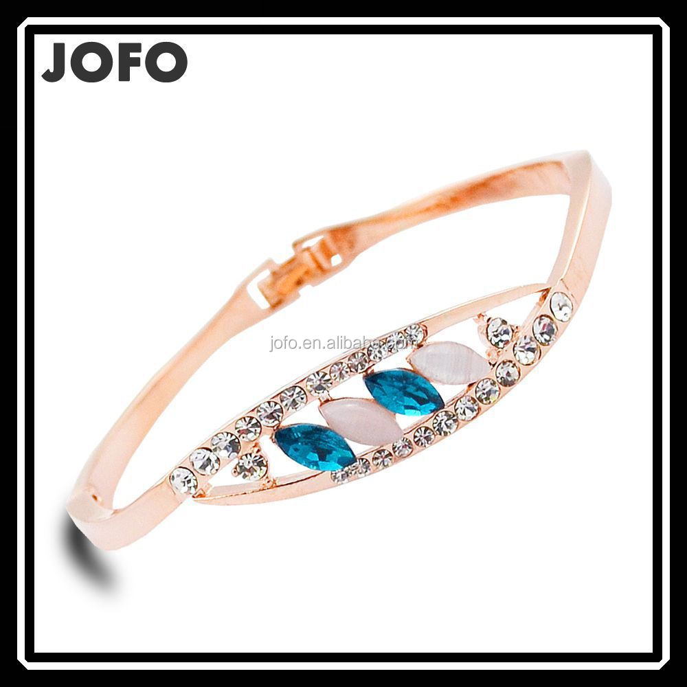 Hight Quality 18K Gold Plated Opal Bangle Women Fashion Charm Bracelet JDJ0119