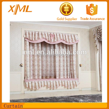 girls pink color latest cotton stripe printed curtain designs 2015