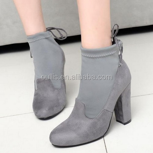 2017 gray suede wedge boots women winter ankle boots PF4424