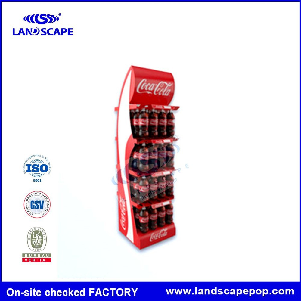 Simple design floor metal display stand /iron beverage display shelf / Soft Drink rack