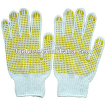 FQGLOVE two sides pvc dots white cotton grip gloves