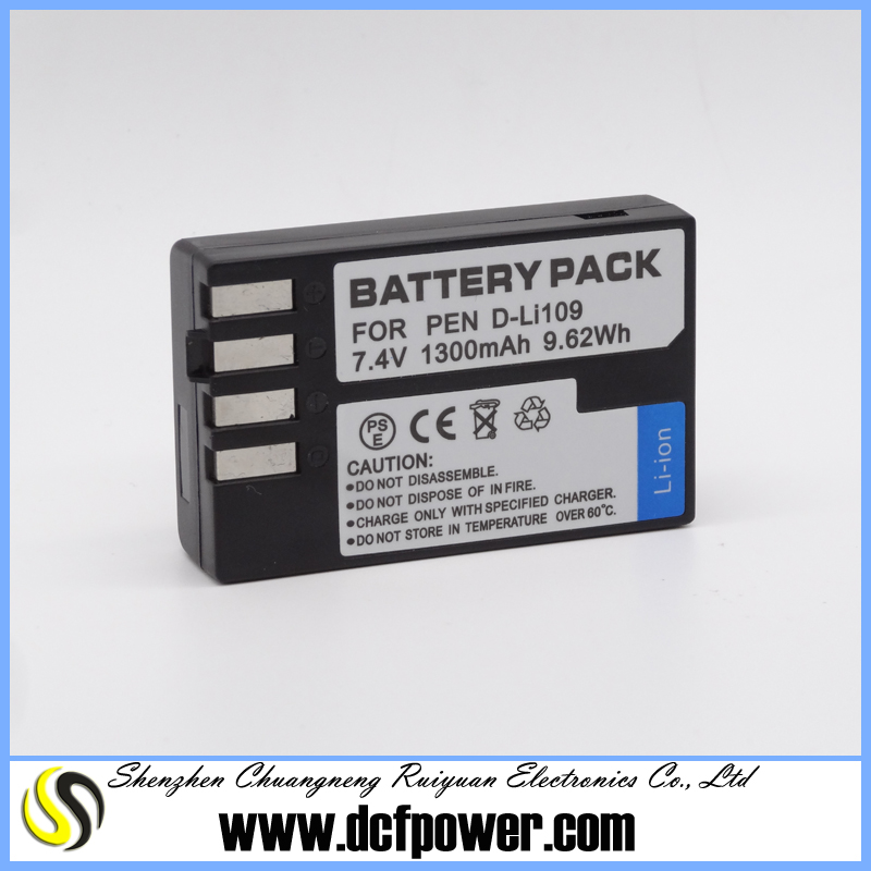 Promotion universal battery charge camera rechargeable battery pack for D-Li109 K-30 K-50 K-500 K-r China manufacturer