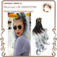 Ombre hair extension virgin Brazilian Hair 1b/Grey Two Tone Ombre Human Hair Tape in hair Extensions 2.5g/pc