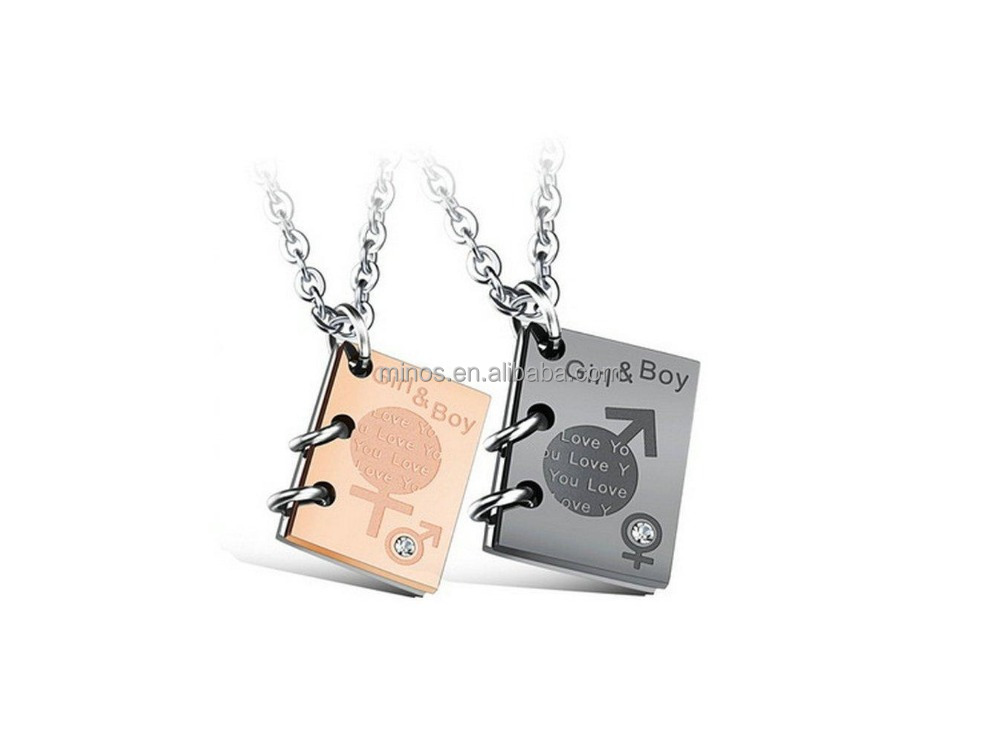 Boys & Girls Couple Necklace,Newest Stainless Steel Book Necklace