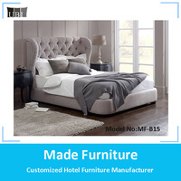 High quality king bed frame fabric bed/upholstered queen size button tufting headboard set