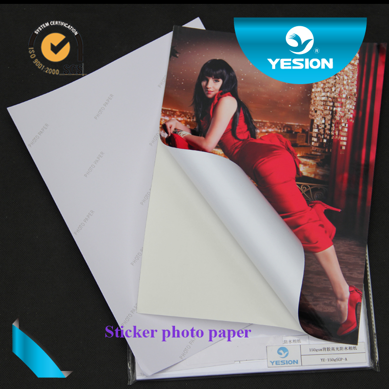 2015 Yesion OEM 90g-150g cast coated glossy adhesive back photo paper