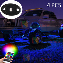 IP68 RGB LED Rock Light Kits iOS Android Cellphone Bluetooth Control with 4 pods Lights for JEEP Off Road Truck Car ATV SUV