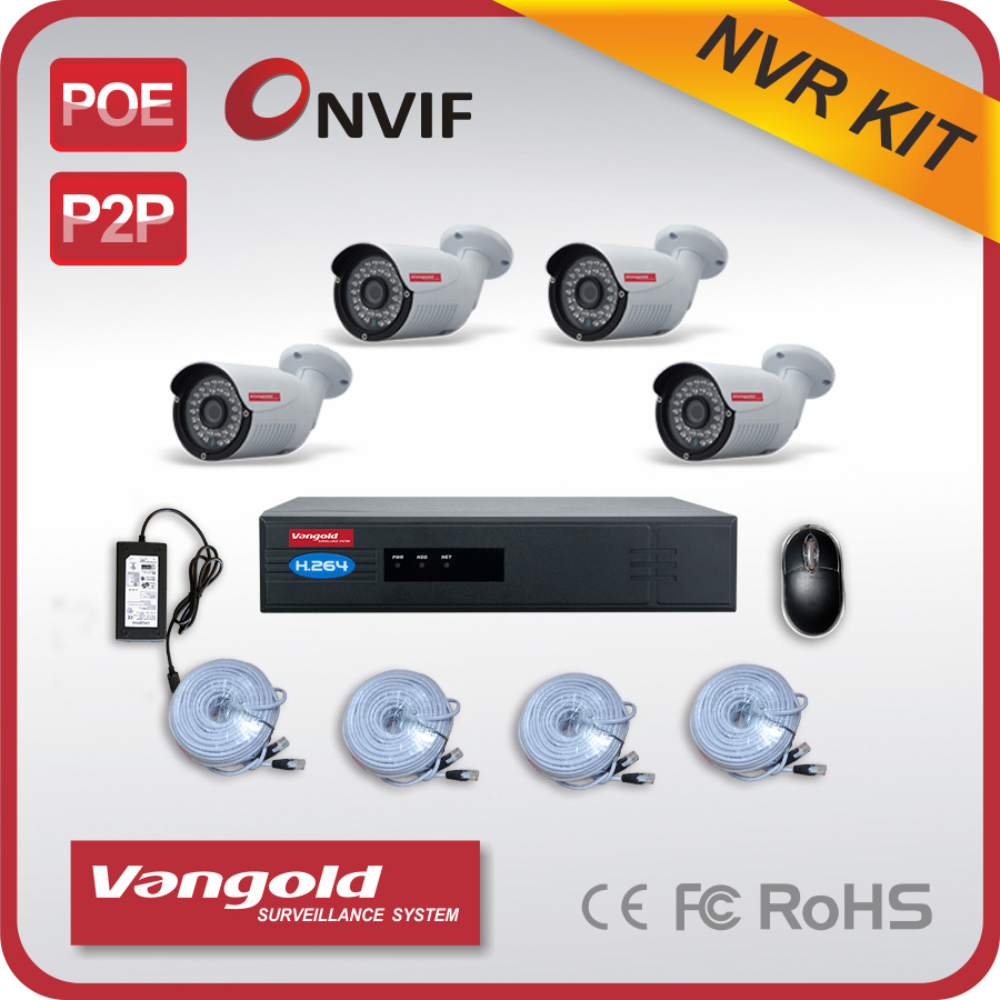 4 x ip cameras & 1 x 4 ch NVR H264 2 MP ip camera with nvr kit