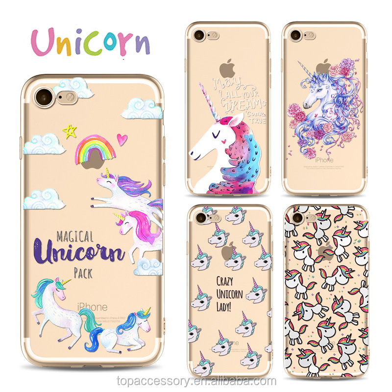 2017 NEW Fashion Hot Unicorn Soft TPU custome printing mobile cell phone cases for Iphone