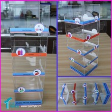 Table Cellphone Accessory Cabinet Showcase Mobile Charger Retail Store Display Acrylic Cellular Phone Accessories Display Stand