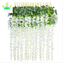 Artificial Flowers Vine 2 Pcs 6.6ft Fake Silk Wisteria Ivy Vine Rattan Hanging Garland for Home Party Wedding Decor, White