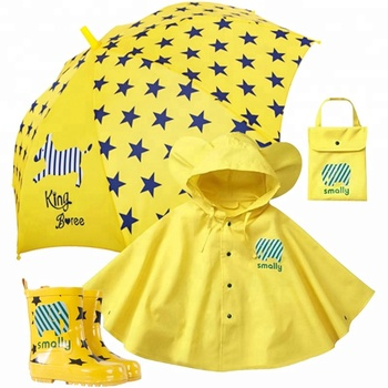 High quality promotional sun and Rain Boot Kids Umbrella Wear Sets