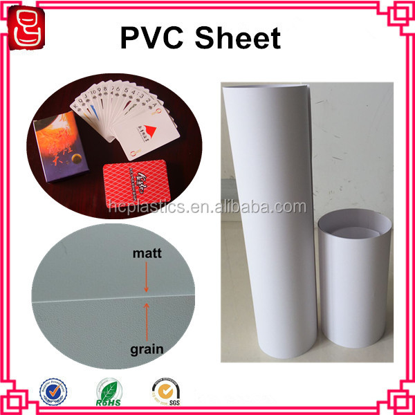 0.3mm Printable Opaque Embossing White PVC Rigid Sheet for Playing Cards