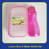 Kids Clear 900ML Plastic Lunch box & 500ML Water Bottle Set