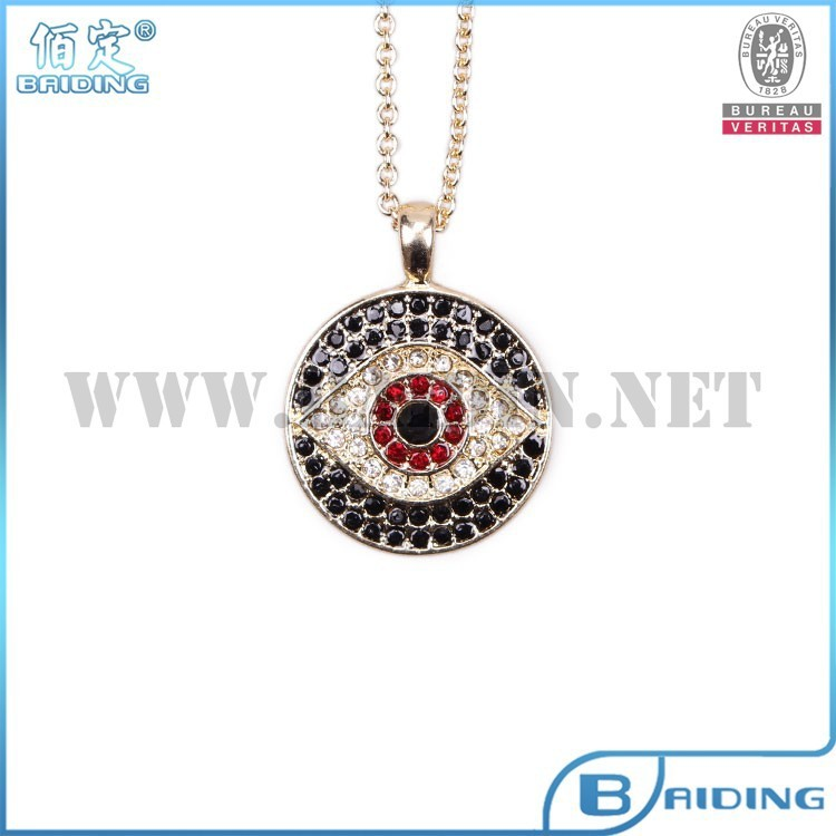 Fashion Turkey evil eye crystal Rhinestone pendant necklace 14k gold plated in necklaces wholesale