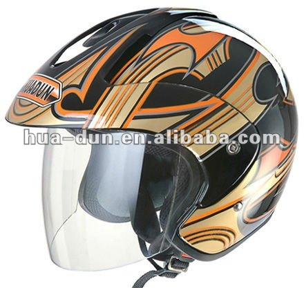 Huadun hot selling clear visor open face motor helmet with dot