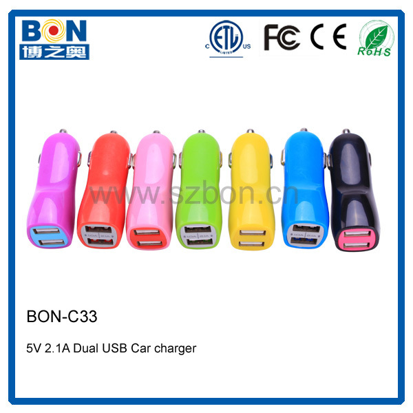 Universal two usb geepas flashlight charger in car adapter