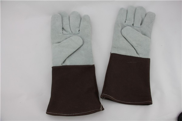"14"" EN 388 EN407 Split cow leatherhear resistant welding gloves"