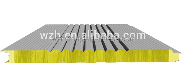 High quality PU sealing side rockwool sandwich board for wall and roof