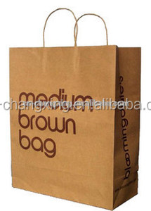 Twisted handle brown kraft white paper bag with high quality