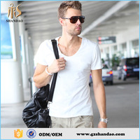 2016 Guangzhou Shandao Latest Model Casual White Bulk Scoop Neck Slim Fit 160GSM Write Name T Shirt For Men