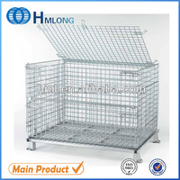 Stacking steel cold storage wire mesh pallet rack container