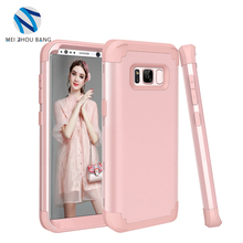 3 in 1 Cases For Samsung Galaxy S8 plus case Fashion Hard PC + Silicone Full Protect Back cover for Samsung s8 plus case shell